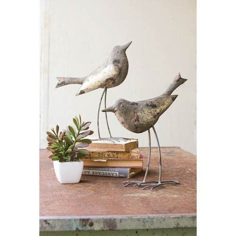 Set Of 2 Metal Birds - Rustic Grey - Les Spectacles French Industrial