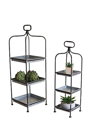 S/2 Tall Metal Display Stands W/ Galvanized Trays - Les Spectacles French Industrial