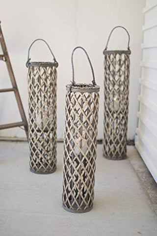 Grey Willow Lantern With Glass - Medium - Les Spectacles French Industrial