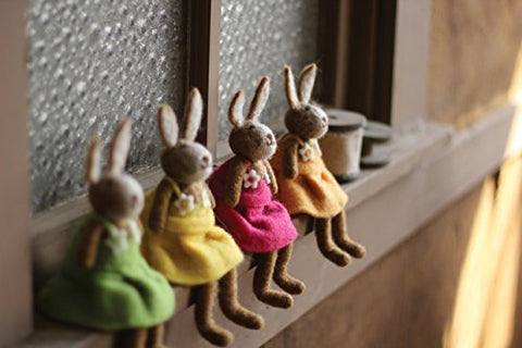 Set Of 4 Felt Rabbits-One Each Color - Les Spectacles French Industrial