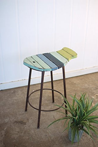 Painted Wood And Metal Fish Counter Stool - Les Spectacles French Industrial