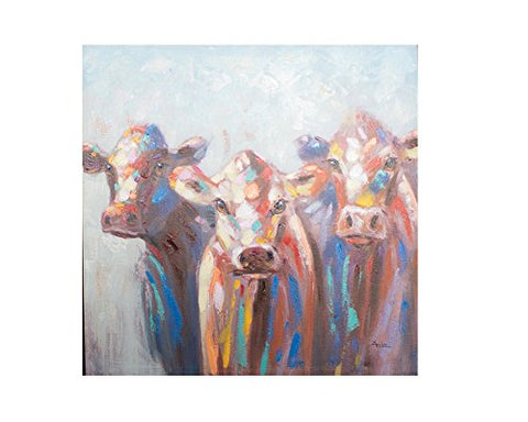 Oil Painting - Three Colorful Cows - Les Spectacles French Industrial