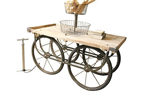 Recy Wood & Iron Rolling Vendor Cart W Bicycle Tire Pump - Les Spectacles French Industrial