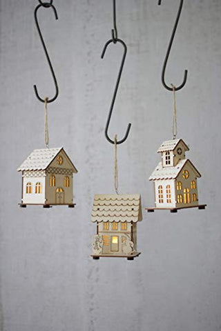 Set Of Three Wooden Led House Ornaments - Natural Wood - Les Spectacles French Industrial