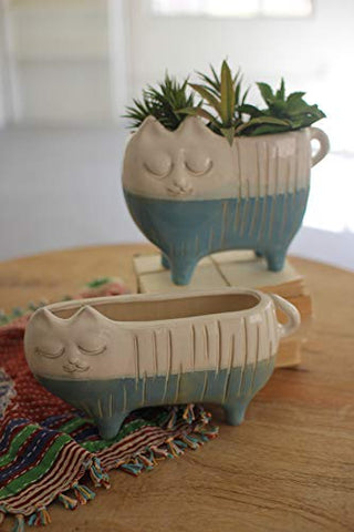 Set Of Two Ceramic Cat pots - Les Spectacles French Industrial