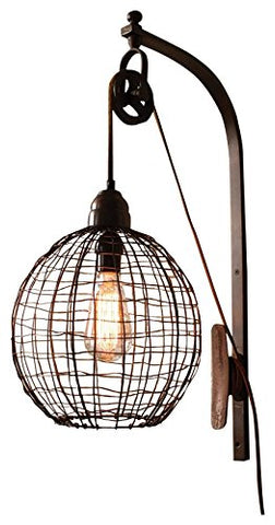 Wire Sphere Wall Sconce With Pulley - Les Spectacles French Industrial