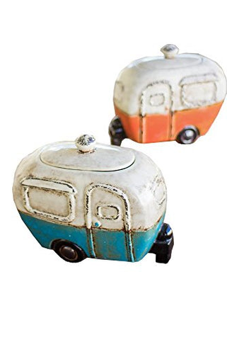 Set Of Two Ceramic Camper Canisters - Les Spectacles French Industrial