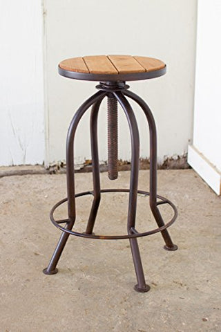 Adjustable Bar Stool With Recycled Wood - Rustic Finish - Les Spectacles French Industrial