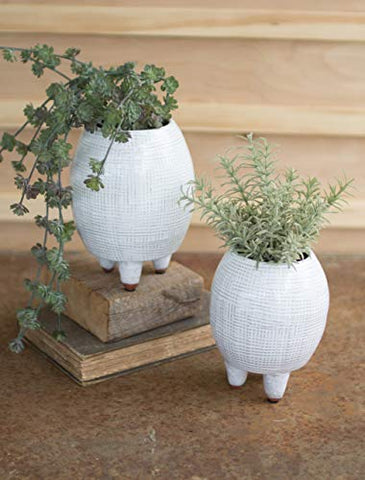 Set Of Two Textured White Ceramic Vases With Legs