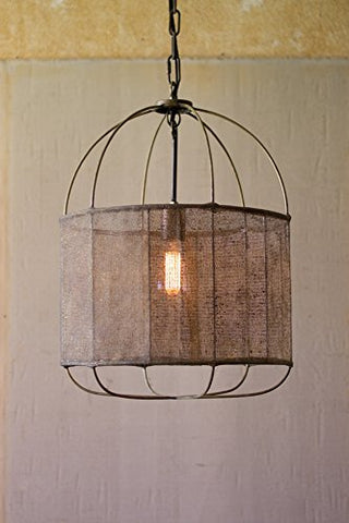 Drum Pendant Light With Fabric Shade - Les Spectacles French Industrial