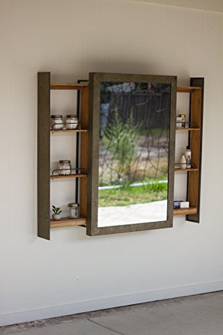 Shelf With Rolling Mirror Door - Les Spectacles French Industrial