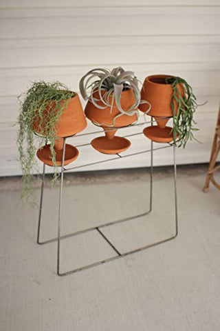 Set Of Three Clay Pots On A Wire Base