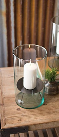 Glass Hurricane With Metal Candle Stand - Large - Les Spectacles French Industrial