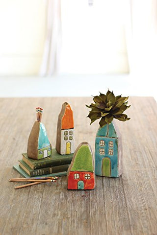 Set Of Four Colorful Ceramic House Bud Vases - Les Spectacles French Industrial