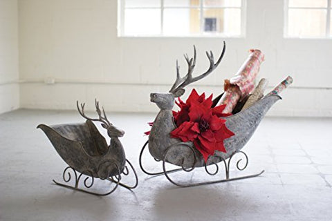 Set Of 2 Deer Sleighs - Les Spectacles French Industrial