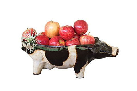 Ceramic Black And White Cow Bowl - Les Spectacles French Industrial