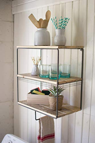 Metal Wall Cubby With Hanging Bar And Recycled Wood Shelves - Les Spectacles French Industrial