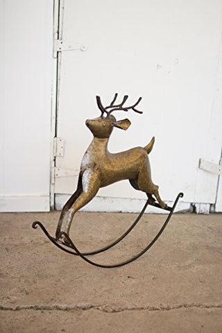 Rustic Zinc Rocking Deer - Les Spectacles French Industrial