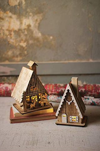 Set Of Two Wooden Houses With Led Lights - Les Spectacles French Industrial