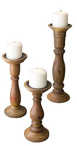 Set Of Three Turned Wooden Candle Stands - Les Spectacles French Industrial