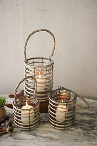Set Of Three Grey Willow Lanterns With Glass - Les Spectacles French Industrial