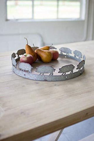 Round Wood And Metal Pig Tray - Les Spectacles French Industrial