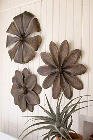 Set Of Three Metal Flower Wall Décor - Les Spectacles French Industrial