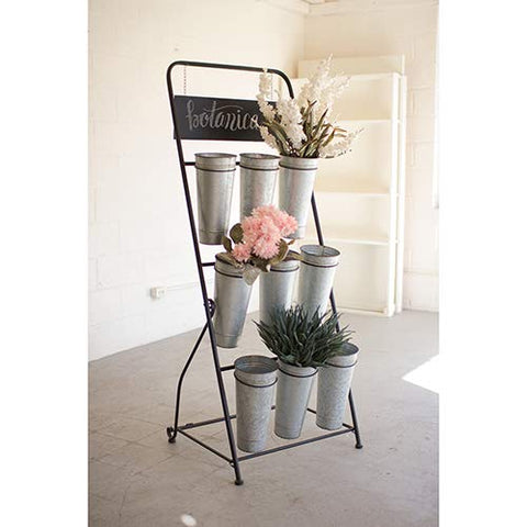 Flower Rack With Nine Galvanized Buckets - Les Spectacles French Industrial