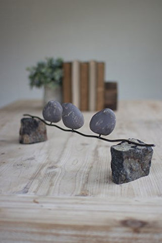 Set Of Three Clay Birds On A Wire W/Stone Base - Les Spectacles French Industrial