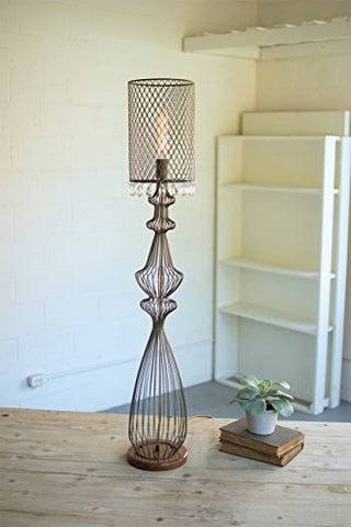 Large Wire Table Lamp W/Metal Mesh Shade & Hanging Gems - Les Spectacles French Industrial