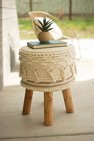 Macrame Stool With Wooden Legs - Les Spectacles French Industrial