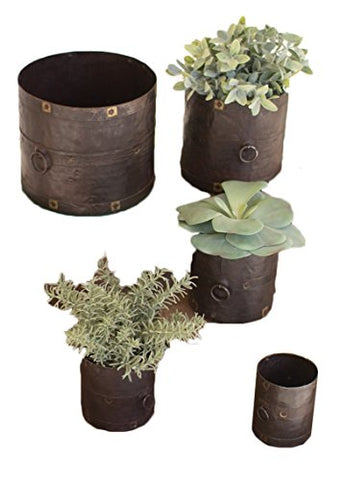 Set Of Five Rustic Metal Containers
