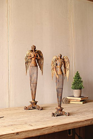 Set Of 2 Rustic Metal Angels