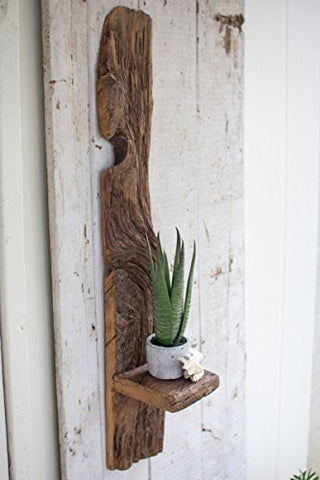 Tall Recycled Wood Wall Shelf - Les Spectacles French Industrial
