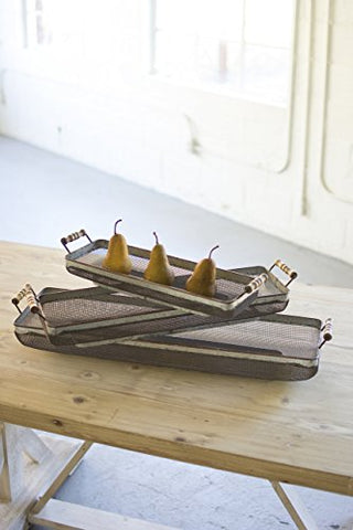 S/3 Rustic Galvanized Rectangle Trays W/Wooden Handles