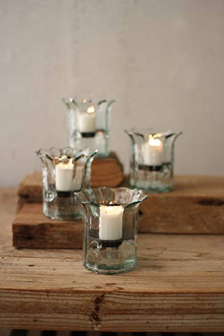 Recycled Glass Mini Ribbed Votive Cylinders - Les Spectacles French Industrial