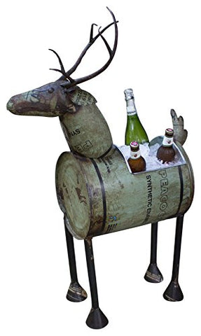 Reclaimed Green Metal Deer Wine Cooler Or pot - Les Spectacles French Industrial