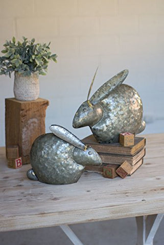 Set Of Two Antique Galvanized Rabbits - Les Spectacles French Industrial
