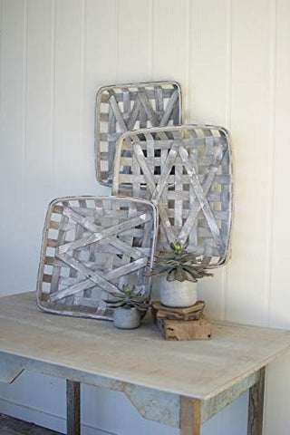 Set Of Three Grey Wash Square Woven Split Wood Baskets - Les Spectacles French Industrial