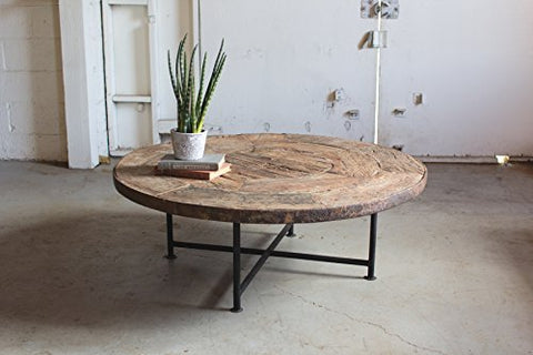 Wooden Wagon Wheel Coffee Table With Iron Base - Les Spectacles French Industrial