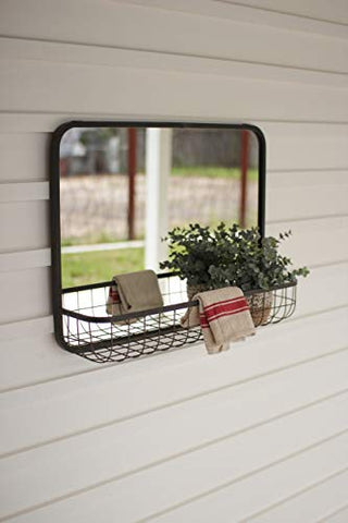 Rectangle Mirror With Wire Basket Shelf - Les Spectacles French Industrial