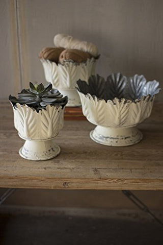 Set Of Three Metal Leaf Planters