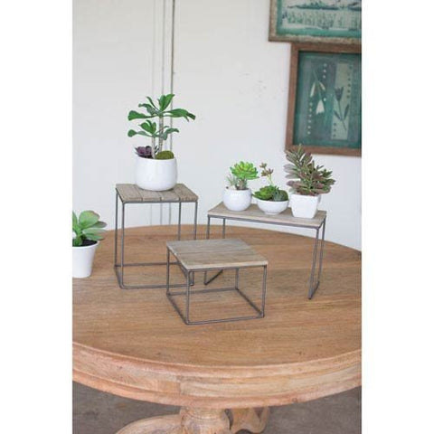 Set Of Three Wood And Metal Table Top Risers - Les Spectacles French Industrial