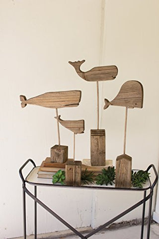 Set Of Four Recycled Wooden Whales On Stands - Les Spectacles French Industrial