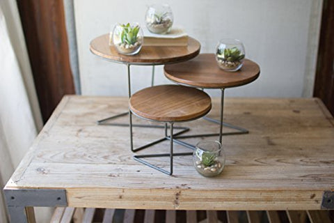 Set Of Three Round Wire Display Risers With Wood Tops - Les Spectacles French Industrial