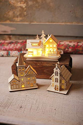 Set Of Three Wooden Houses With Led Lights