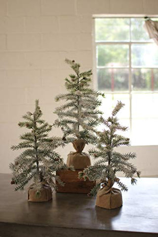 Set Of Three Artificial Pine Trees With Snow Detail & Burlap