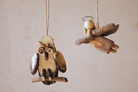 Recycled Wood Angel Ornament - Les Spectacles French Industrial