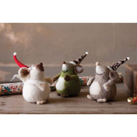 Set Of 3 Felt Mice With Christmas Hats - Les Spectacles French Industrial