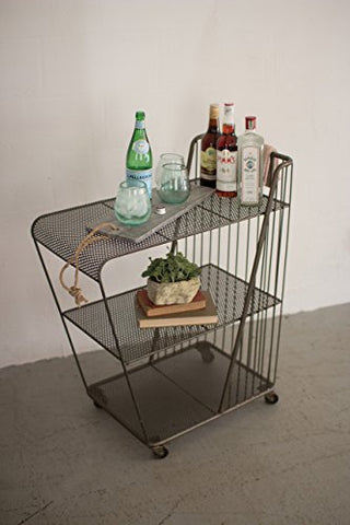 Rolling Drink Cart W/Perforated Metal Shelves - Raw Metal - Les Spectacles French Industrial